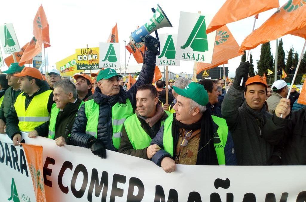 28 de enero de 2020: Aragón inaugura la agenda de manifestaciones a nivel nacional en defensa del sector agrícola y ganadero